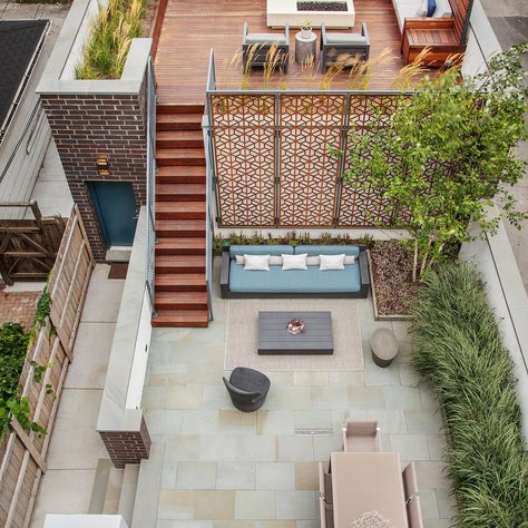 Urban Outdoor Retreat.  Multi-level outdoor entertaining space for a city home.