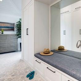 Oceanside Cottage Master White Shaker Dressing Room and Wardrobe