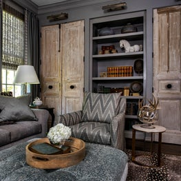 Briargrove Houston Living Room Featuring Reclaimed Wood Doors