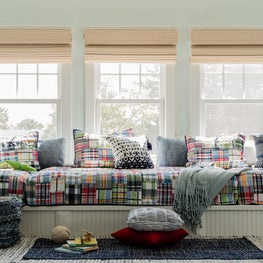 Children's Loft with custom Bed platform, in Madras Plaid,for play and for sleep