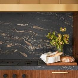 Chicago Lux, Art Deco, Modern, Custom Range, Black Counters, Gold Hood