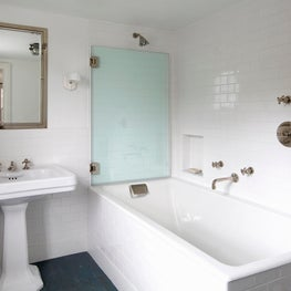 Connecticut Farmhouse, White Tile, Modern Farmhouse Bathroom