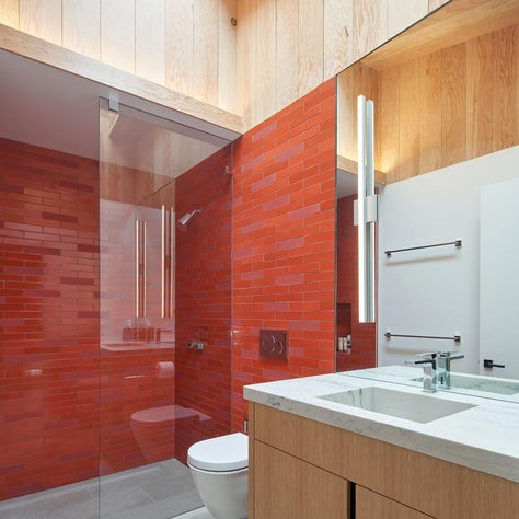 Mid Century inspired new home in San Francisco Bay Area with Heath Ceramics tile