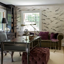 Concord Home Office with hand-painted silver leaf wallpaper and custom cabinetry