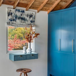 MODERN RUSTIC ENTRY  FLOATING GRASSCLOTH CONSOLE, RECLAIMED WOOD, BLUE BUILT-IN