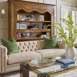 Traditional Living Room in Khaki
