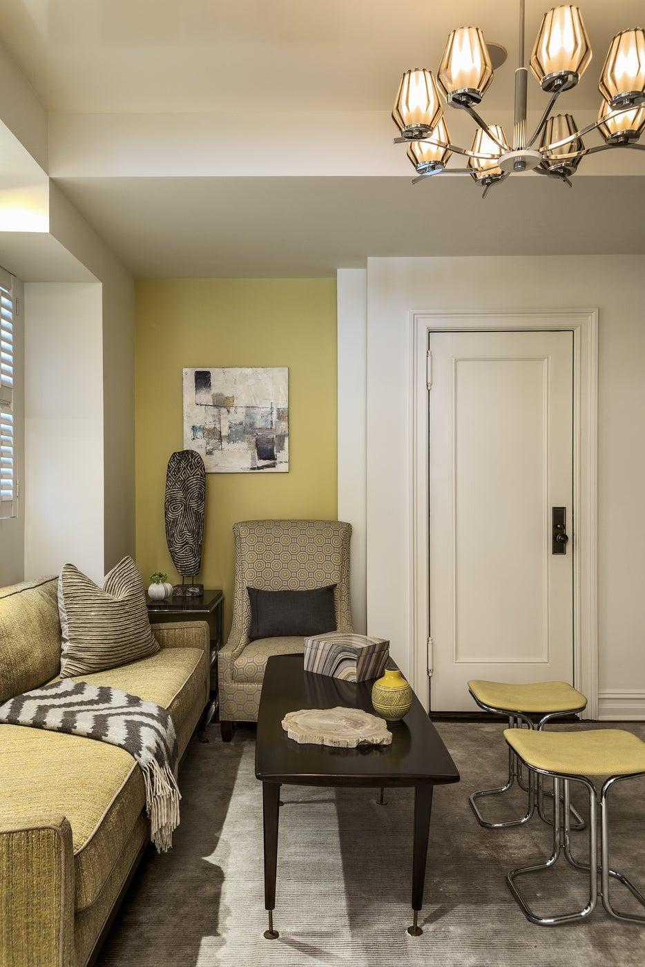 Transitional Riverside Drive Renovation, Living Room