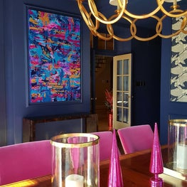 """Dining Room Flare"" A St Louis couple asked me to create a custom painting to fit inside a special spot on their dining room wall. The deep navy walls and pops of bright pink and shiny gold are all incorporated in this unique piece."