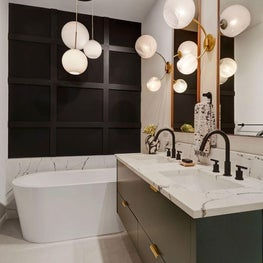 Chic Black, White Green Bathroom!