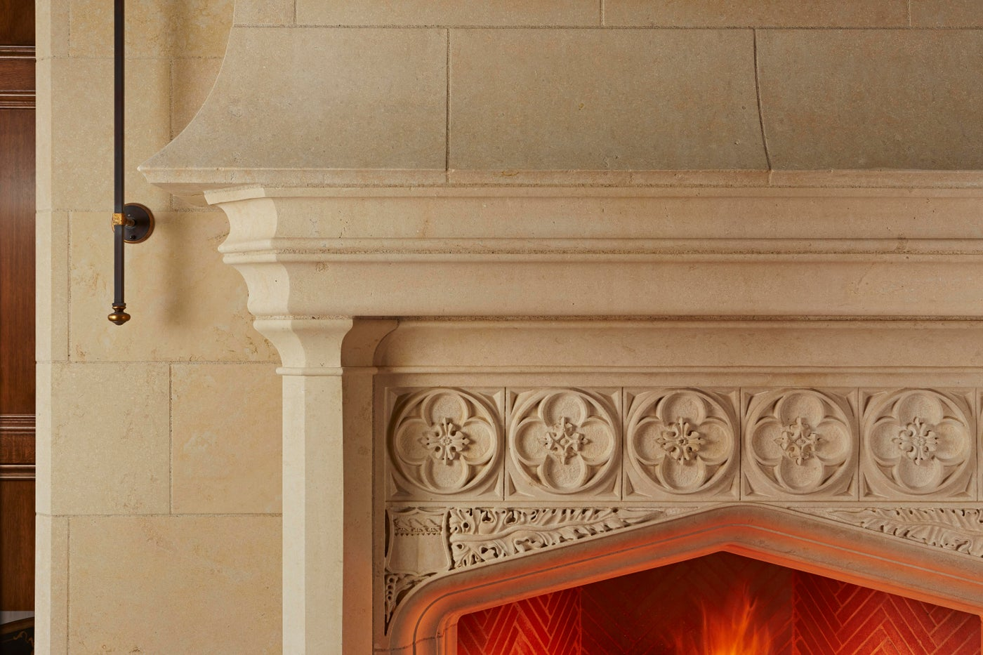 Edwardian Quatrefoil Carved Limestone Fireplace