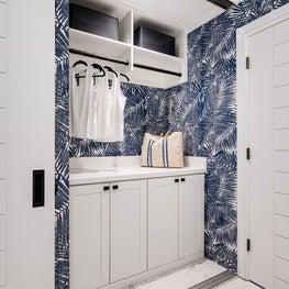 Oceanside Cottage Laundry Nook w/tropical vibrant blue wallpaper