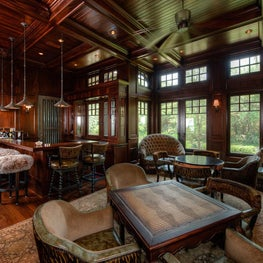 Paneled Mahogany Wet Bar and Game Room