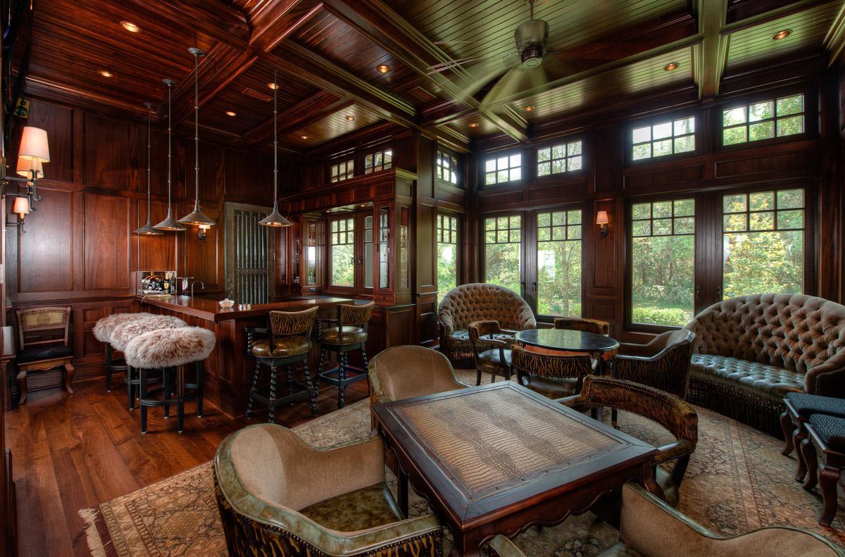 Paneled Mahogany Wet Bar and Game Room