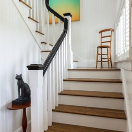 Striking colorful artwork creates a visual point of interest on the landing.