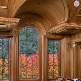 Woodside Estate, Paneled Library with Walnut Paneling and Detail Mouldings