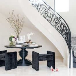 High contrast black and white entry foyer in Houston, Texas