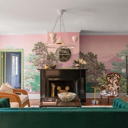 Family Room with layered seating and custom mural