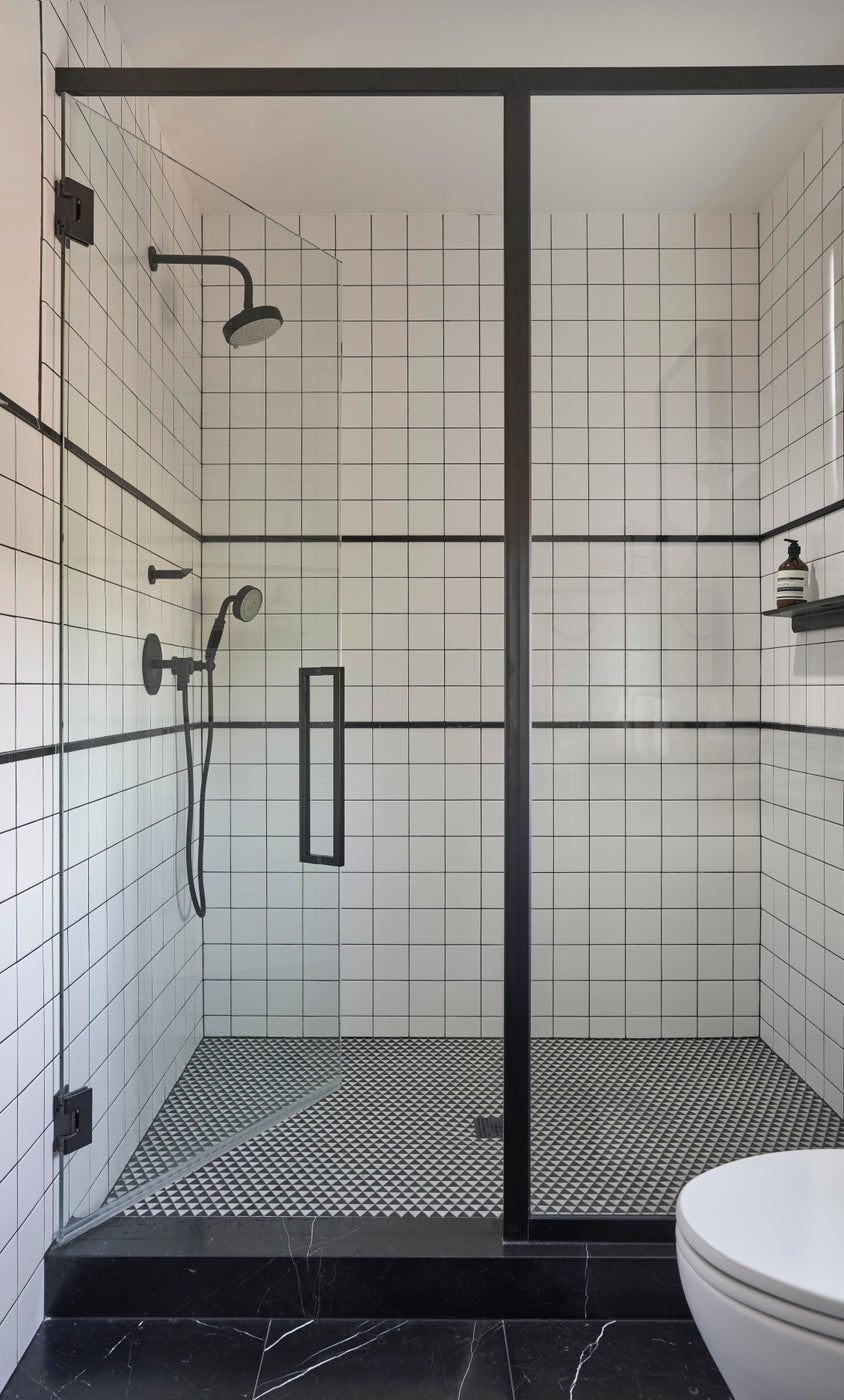 Spa Like Shower Design in Modern Bathroom of an Urban Classic Chicago Home