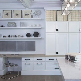 Study, Library, White and Clean, Custom marble work table, Arterior's lighting,