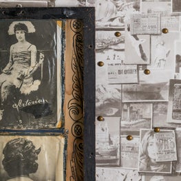 Wallpaper featured as pin-up postcards with antique art