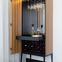 Custom Zebra Wood and Ink Dyed Oak Wine Bar with Brass Details