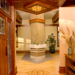 Modern Prairie Style Entry Foyer with Dropped Wood Ceiling and Backlit Art Glass