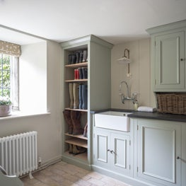 A laundry room designed with space for the all important Welly boots