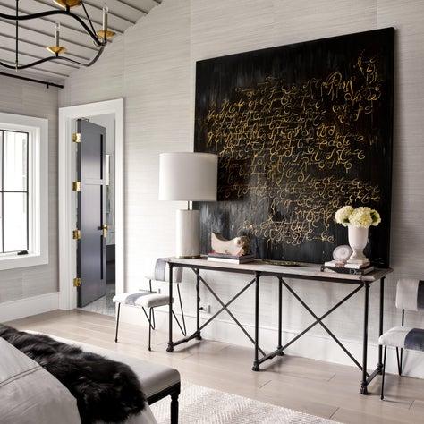 Brynn Olson Design Group - Hinsdale Modern Farmhouse - Master Bedroom Artwork