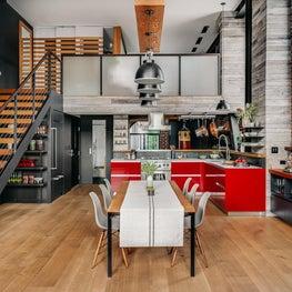 Modern Kitchen in Brick Wall Loft