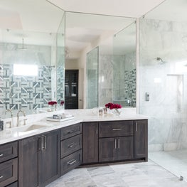 High contrast bathroom with black and white tile