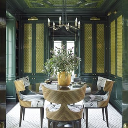 Intimate Lacquered Library with Brass Screened Cabinetry