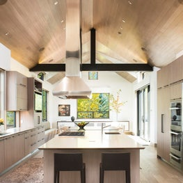 Snowmass Village, Aspen Two Creeks Remodel- Kitchen, wood ceiling, steel truss
