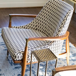 Vintage mid-century chair with graphic fabric.