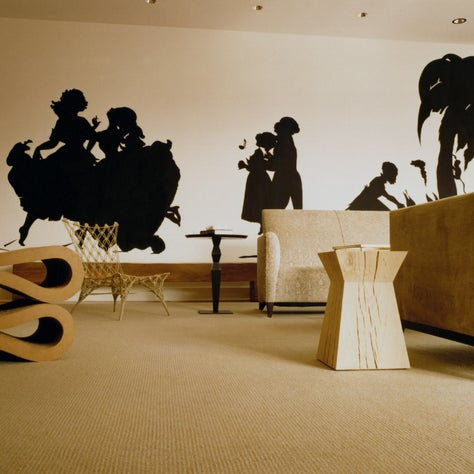 Contemporary living space with dramatic silhouette by artist Kara Walker