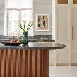 Chicago Lux, Art Deco, White Kitchen, Modern, Contemporary, Tambour, Gold Detail