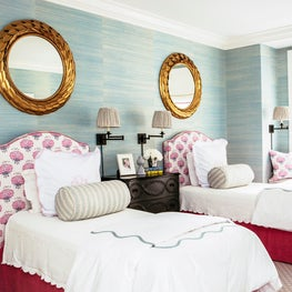 Sophisticated Girl's Room with Blue Grasscloth Wallpaper