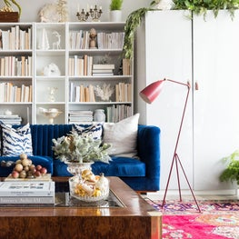 Sun filled eclectic high rise with pops of texture and color