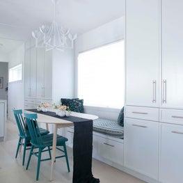 Sag Harbor Custom Builtin Storage Units with Window Nook Dining Room