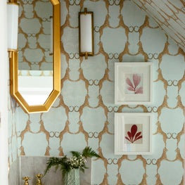 Chicago eclectic Victorian , bold powder room