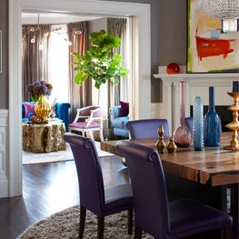 Back Bay Condo Dining Area with purple faux leather chairs