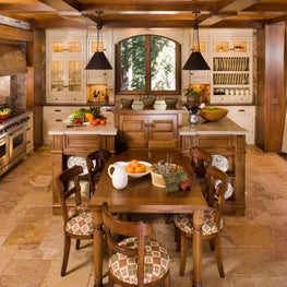 Traditional Mountain home in Mammoth, Kitchen painted and walnut cabinetry
