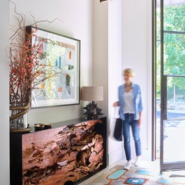 Entry Hall with mix of modern elements and color, Atherton