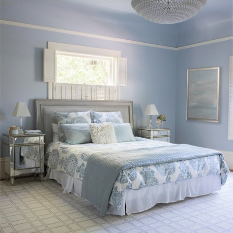 Master Bedroom in Pale Blue-Gray w/ Mirrored Side Tables, Sculptural Chandelier