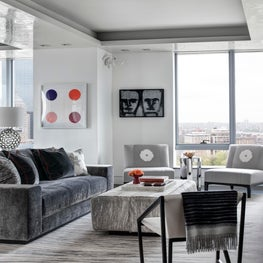 Ritz Carlton Residences, Boston; Living Room with custom rugs and furnishings
