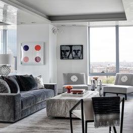 Ritz Carlton Residences, Boston; Living Room with custom rugs and furnishings