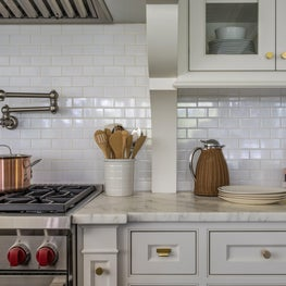 Subway Tile Kitchen, with Copper Pot and Brass Hardware