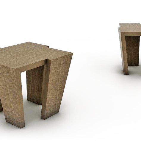These blonde wood side tables with an elegant taper are reminiscent of actress, Kim Novak.