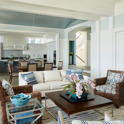 Shingle Style Beach House Living Room, Dining Room and Kitchen