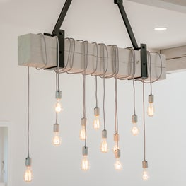 Modern barn house style, white wood and black steel light fixture