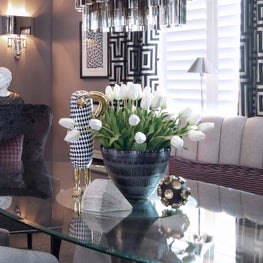Eclectic Art Deco Inspired Dining Room with Contemporary Art and Accents